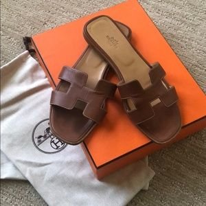 Hermes Oran Sandals Gold Size 39.5